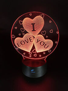 valentines day gift decoration i love you 7 changing colors led lighted heart