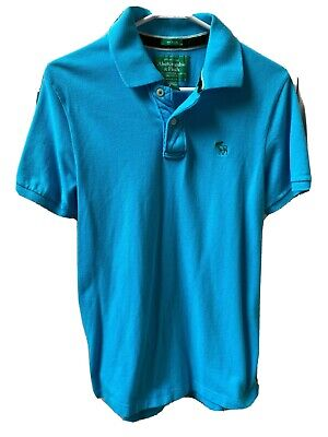 Abercrombie & Fitch Mens Muscle Shirt Size Medium Aqua Polo Top w/ Moose Logo