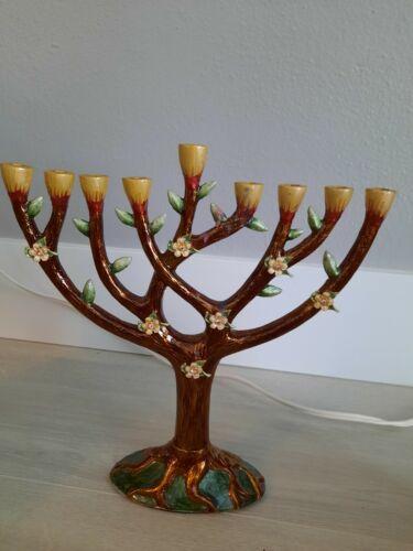 Enamel Tree of Life Menorah, Used in box.