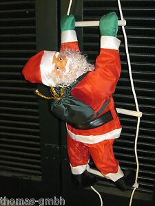 HO! HO! HO!  Großer Weihnachtsmann  Nikolaus auf Leiter 100 cm. außen + innen