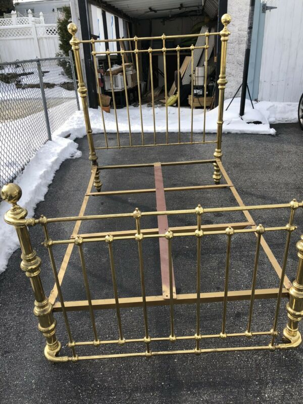 Antique Brass Bed - Full Sized Double Headboard Footboard Brass Bed Frame