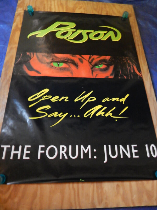 POISON AT THE FORUM  -  ORIGINAL ROCK  CONCERT PROMO POSTER (1988)  -  ROLLED