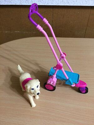 Barbie Doll Taffy Pet Dog Puppy Push Stroller Cart Park Walk Accessory