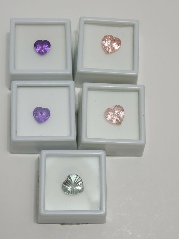 JTV Faceted Loose Heart Shape Gemstones lot of (5), Zandrite, YAG and Green AMY