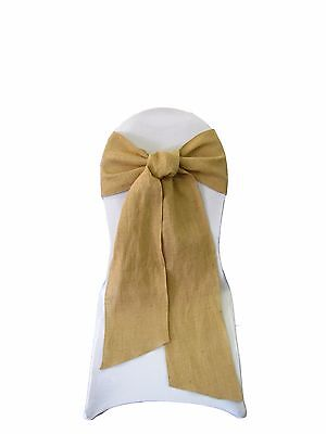 LA Linen Natural Burlap Chair Bow Sashes 7 by 108-Inch in Bulk. Made in USA - Wedding Supplies In Bulk