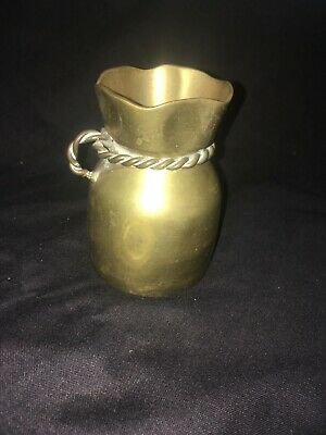 Vintage small Milk Churn. Brass vase pot sack rope