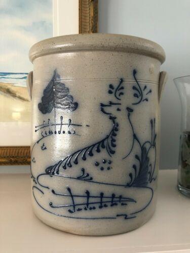 "Rockdale Union Stoneware Salt Glaze Large Deer Crock~1988~10 3/4"""