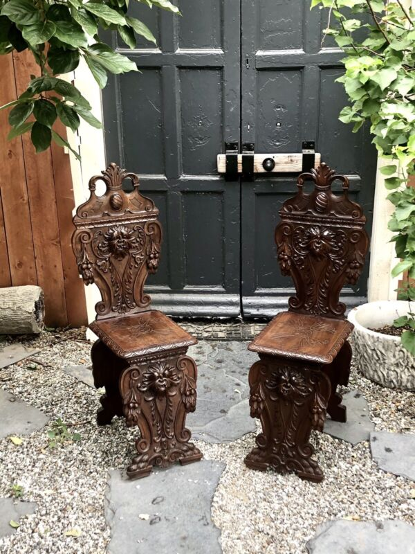 Antique Pair Italian Gothic Sgabello Chairs