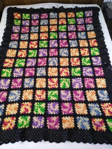 """vintage GRANNY SQUARE CROCHET AFGHAN wool blanket throw black 52""""x71"""" purple +"""