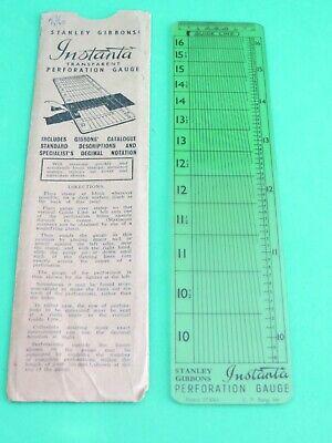 Vintage Stanley Gibbons Instanta Transparent Perforation Gauge W/original Sleeve
