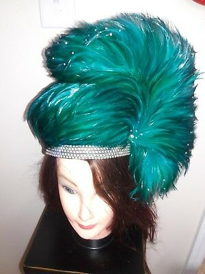 Jack McConnell VINTAGE HAT, Teal Green  Feathers Rhinestones. BEAUTIFUL.   for sale  Titusville