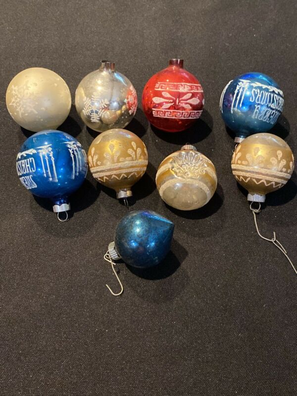 Lot Of 9 Shiny Brite Mercury Glass Christmas Ornaments Indent Stenciled Flocked