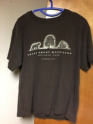 Great Smoky Mountains National Park T-shirt Medium Brown Recycled Cotton Blend