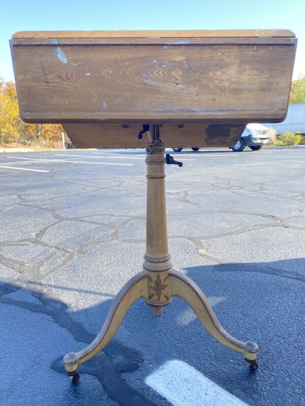 Rare WPI/Washburn Shops Worcester Antique Drafting Table Painted Cast Iron Base