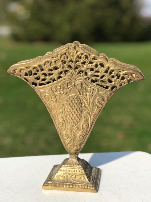 """ANTIQUE Bronze Etched """"FAN"""" vase RARE!"""