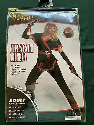 Women's Deadly Dragon Ninja Spirit Of Costume Black/Red Medium Fighter Set Pants