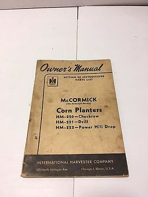 Ih Mccormick 1949 Original Manual Corn Planters Checkrow Drill Power Hill Drop
