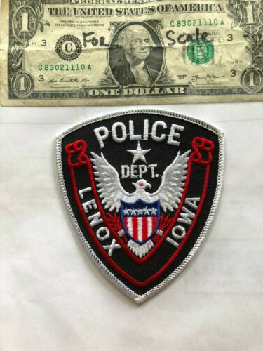 Rare Lenox Iowa Police Patch Un-sewn in great shape