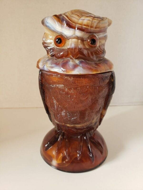 Vintage Imperial Glass Owl Caramel End O