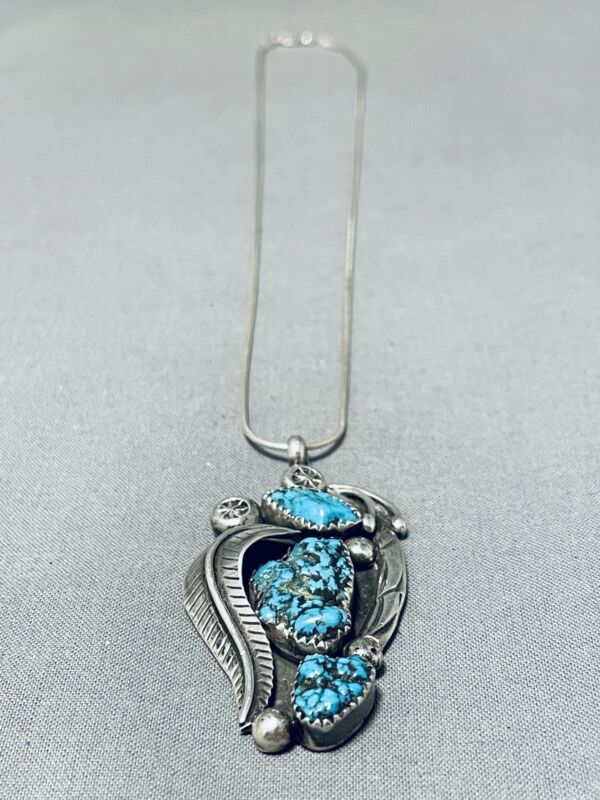 SPECTACULAR VINTAGE NAVAJO 3 OLD KINGMAN TURQUOISE STERLING SILVER NECKLACE