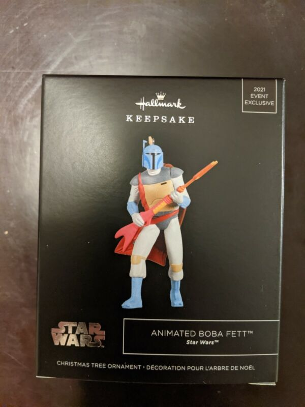 HALLMARK SDCC 2021 STAR WARS ANIMATED BOBA FETT EXCLUSIVE ORNAMENT IN HAND