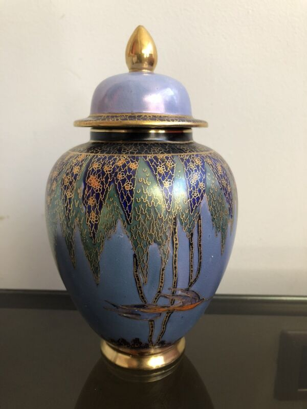 OLD Very Nice Carlton Ware Lustre Vase Tree and Swallow Ginger Jar Art Deco 30`s