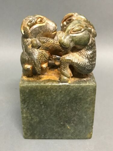 CHINESE ART CARVED SOAPSTONE SEAL WITH SHEEP FIGURE