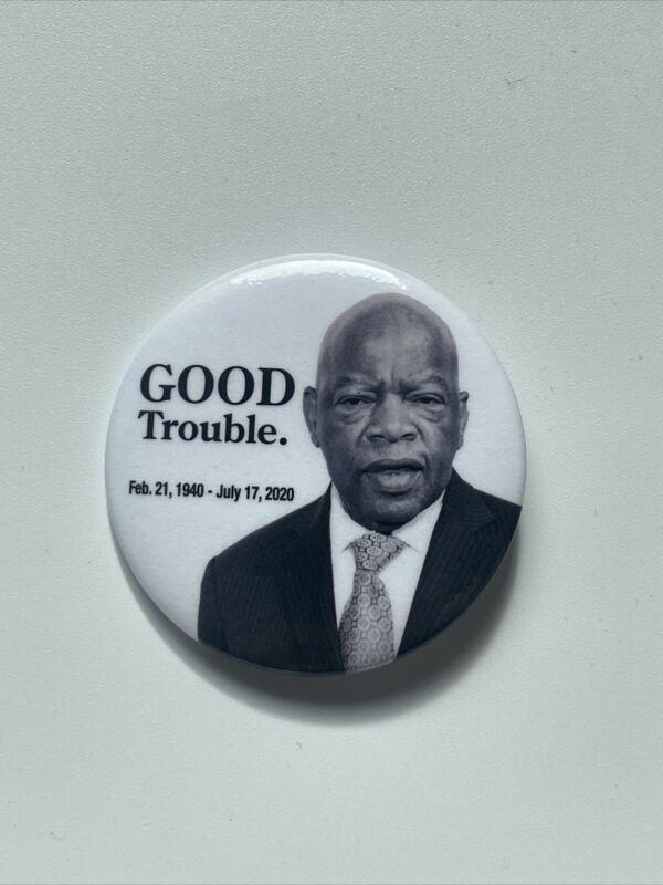 "2020 Congressman John Lewis 2.25"" Button Memorial Pin Good Trouble Civil Rights"