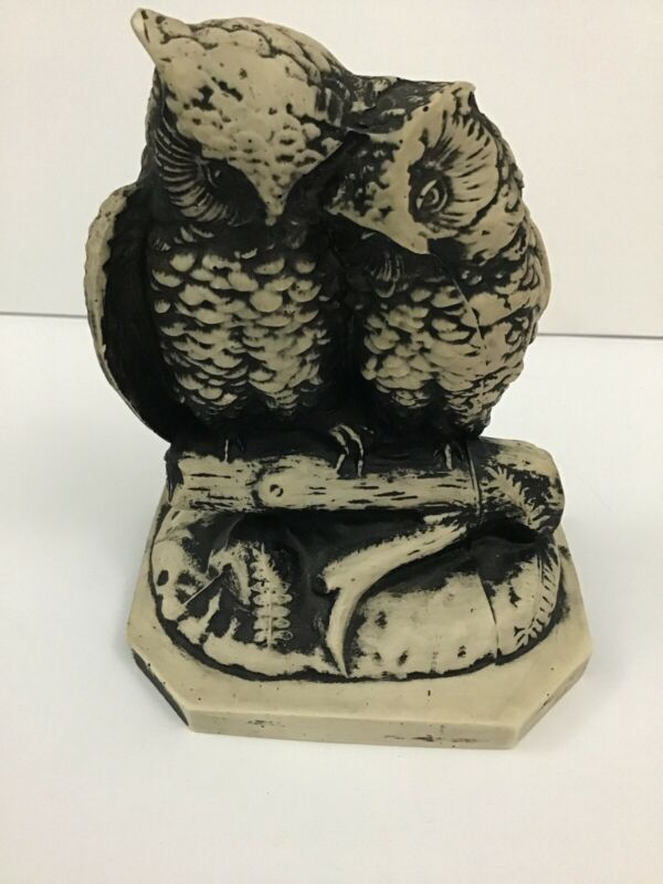 "Owls on Log Figurine Statue Decor 5 1/2"" Tall Black & Cream"