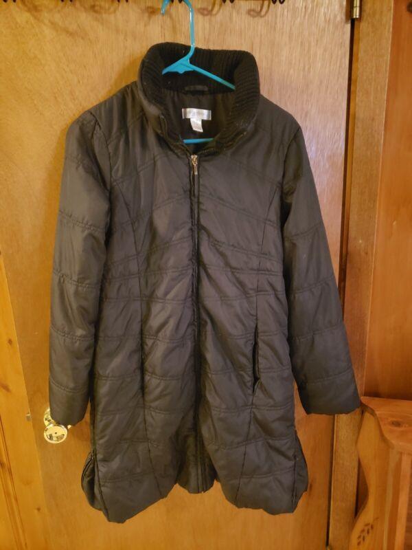 Motherhood Maternity Black Long Puffer Coat Winter Jacket Size Small