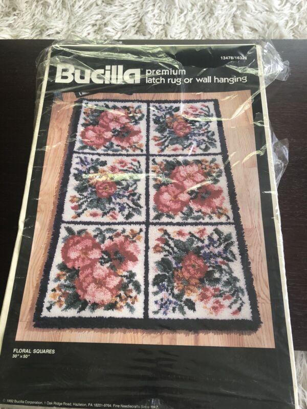 "Vintage BUCILLA 1992 Latch Hook Rug Kit NOP 13478 Floral Squares 30""x 50"""