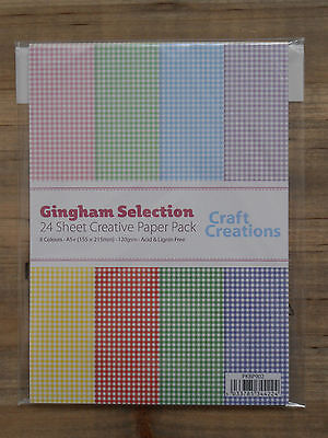 24 Sheets Assorted GINGHAM Check 120gsm A5+ Patterned Craft Paper