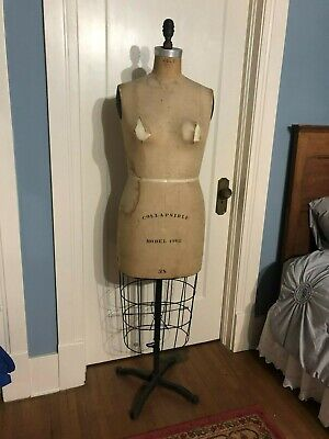 Vintage 1962 Wolf Ny Model Dress Form Women Mannequin Cast Iron Base Spin