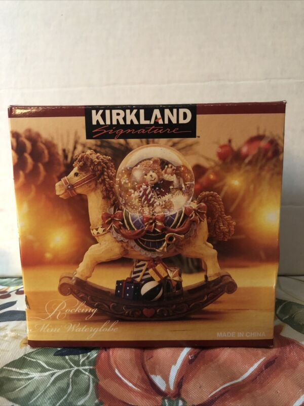 "New In Box Kirkland Christmas Rocking Horse Teddy Bear Mini Snow Globe 4"""
