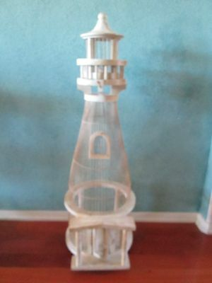 "38"" Tall Large Wood Lighthouse Birdcage Standing Unique Rare Wooden Decorative"