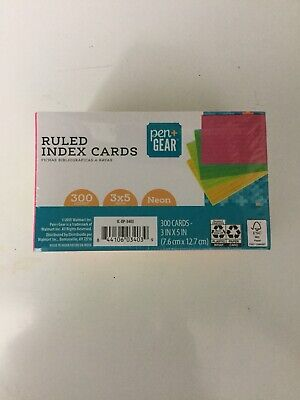 Ruled Neon Colored Index Cards 300 Count Sealed