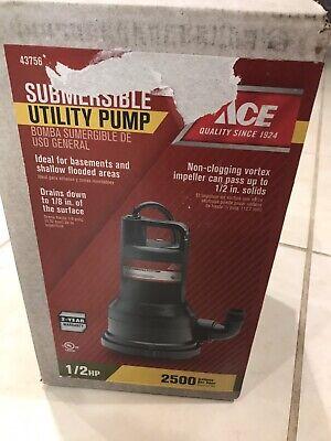 Ace 43756 12hp Submersible Utility Pump 2500 Gph Non-clogging Vortex New