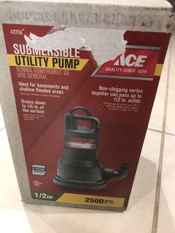 ACE 43756 1/2hp Submersible Utility Pump 2500 gph Non-clogging vortex NEW