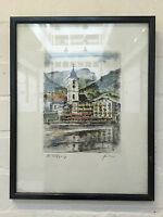 Beautiful Etching Of Town - Tinted With Watercolour - Signed And In Frame - Vr -  - ebay.co.uk