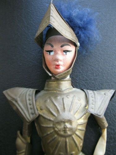 VINTAGE Sicilian Rod String Marionette PUPPET- RARE Knight with SUN Armor