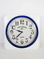 Retro Distressed Square Metal Wall Clock Antiques 1870 London White Blue Large