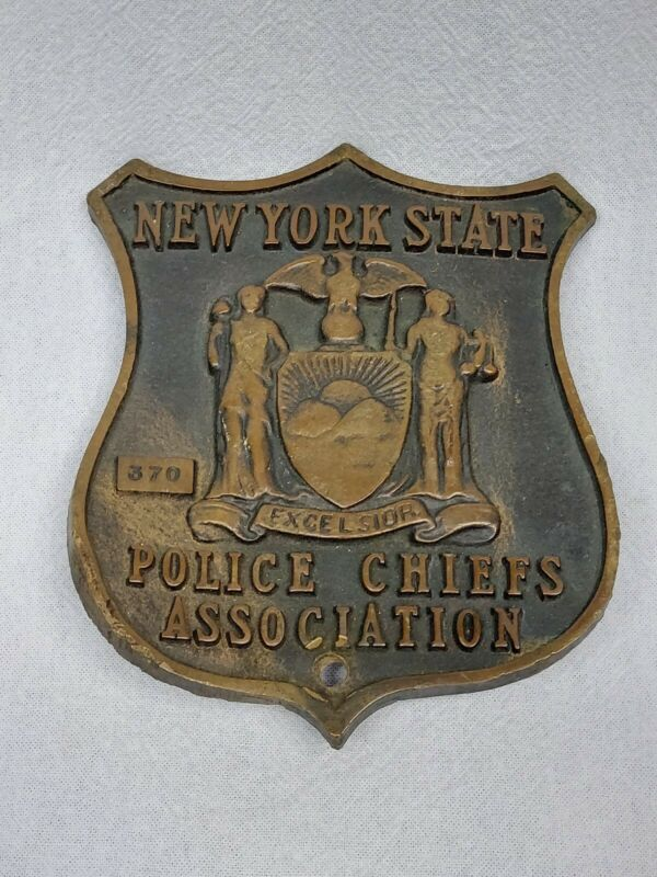 VINTAGE NY STATE POLICE CHIEFS ASSOCIATION BRONZE PLAQUE 6.5""