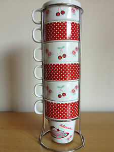RED 6 STACKABLE STACKING MUGS TOWER TEA COFFEE CUP SET & CHROME HOLDER STAND