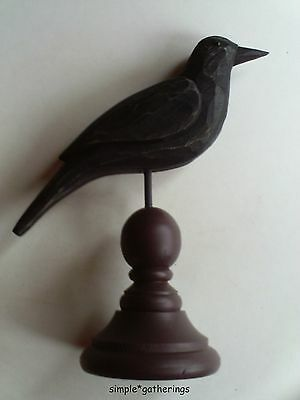 Primitive Black Wood Crow W  Burgundy Spindle Base Folk Art  Wooden  Country