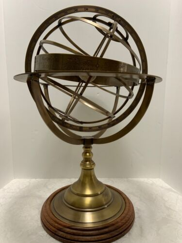 "Solid Brass Armillary Sphere 21.5"" Nautical Skeleton Celestial Globe Wood Stand"