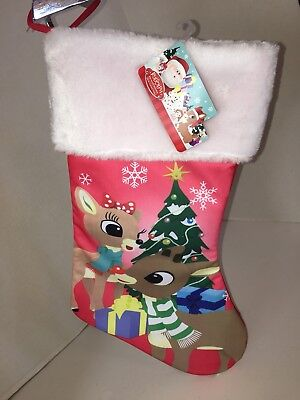 """Rudolph the Red Nosed Reindeer With Clarice Pink 16"""" Christmas Stocking NEW"""