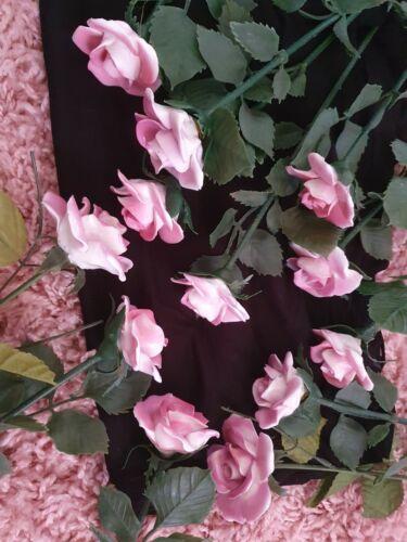 12 Stück - Porzellan Rosen mit Stiel - Rosa - von Stratford + Paridom