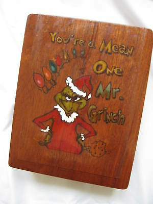 Decorative Dovetail Wood Box w/ Grinch Design