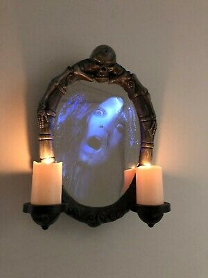 GEMMY Donna the Dead Girl Animated Phantom Wall Mirror w/ Candles Halloween Prop