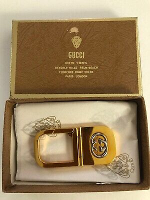 VINTAGE NEW IN BOX GUCCI GOLD TONE KEY CHAIN FOB ITALY FREE SHIPPING